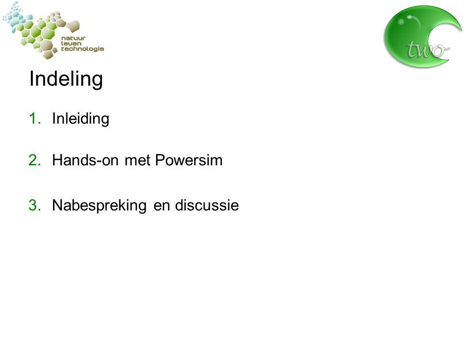 Indeling 1.Inleiding 2.Hands-on met Powersim 3.Nabespreking en discussie