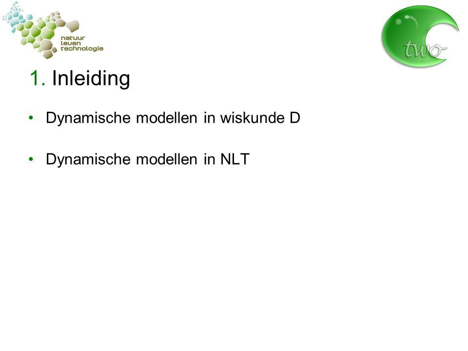 1. Inleiding Dynamische modellen in wiskunde D Dynamische modellen in NLT
