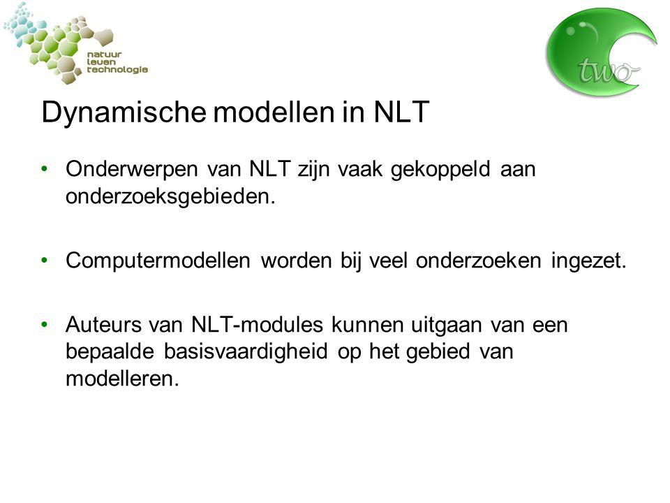Dynamische modellen in NLT Onderwerpen van NLT zijn vaak gekoppeld aan onderzoeksgebieden.