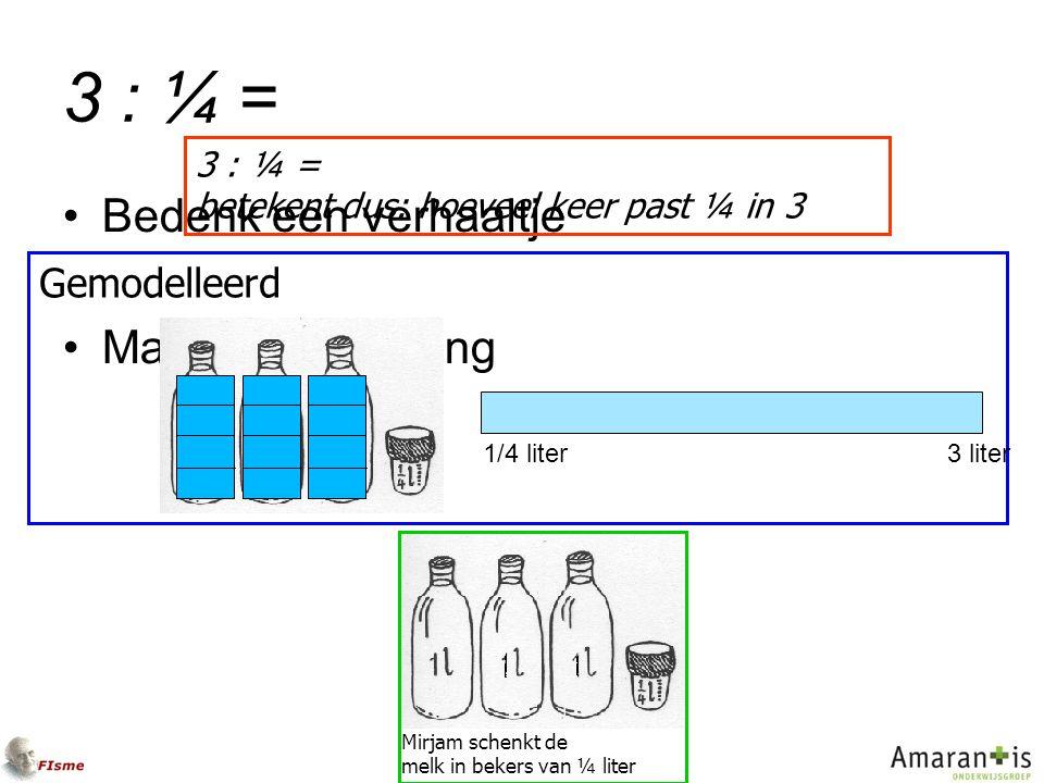 3 : ¼ = Bedenk een verhaaltje Maak een tekening Mirjam schenkt de melk in bekers van ¼ liter Gemodelleerd 3 : ¼ = betekent dus: hoeveel keer past ¼ in