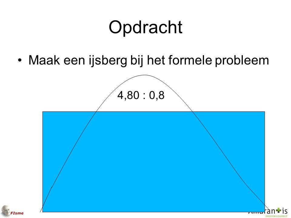Opdracht Maak een ijsberg bij het formele probleem 4,80 : 0,8