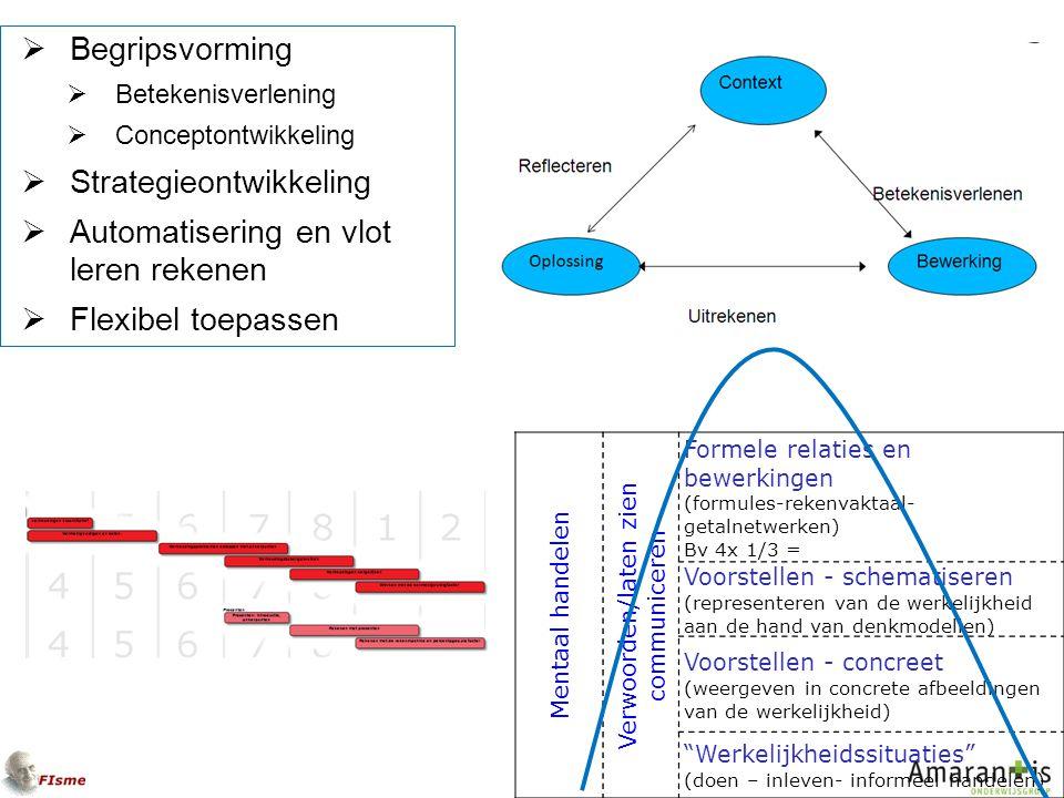  Begripsvorming  Betekenisverlening  Conceptontwikkeling  Strategieontwikkeling  Automatisering en vlot leren rekenen  Flexibel toepassen Mentaal handelen Verwoorden/laten zien communiceren Formele relaties en bewerkingen (formules-rekenvaktaal- getalnetwerken) Bv 4x 1/3 = Voorstellen - schematiseren (representeren van de werkelijkheid aan de hand van denkmodellen) Voorstellen - concreet (weergeven in concrete afbeeldingen van de werkelijkheid) Werkelijkheidssituaties (doen – inleven- informeel handelen)