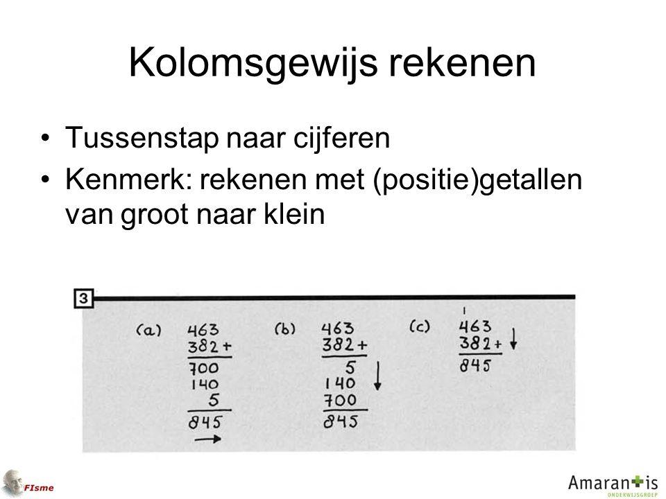 Kolomsgewijs rekenen Tussenstap naar cijferen Kenmerk: rekenen met (positie)getallen van groot naar klein
