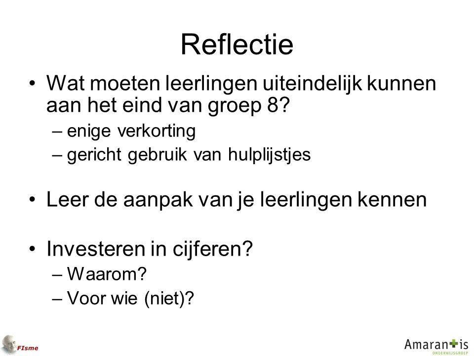 Reflectie Wat moeten leerlingen uiteindelijk kunnen aan het eind van groep 8.