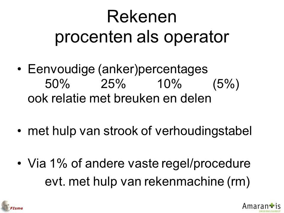 Rekenen procenten als operator Eenvoudige (anker)percentages 50% 25%10% (5%) ook relatie met breuken en delen met hulp van strook of verhoudingstabel Via 1% of andere vaste regel/procedure evt.