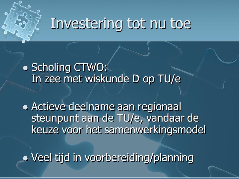 Investering tot nu toe Scholing CTWO: In zee met wiskunde D op TU/e Actieve deelname aan regionaal steunpunt aan de TU/e, vandaar de keuze voor het sa