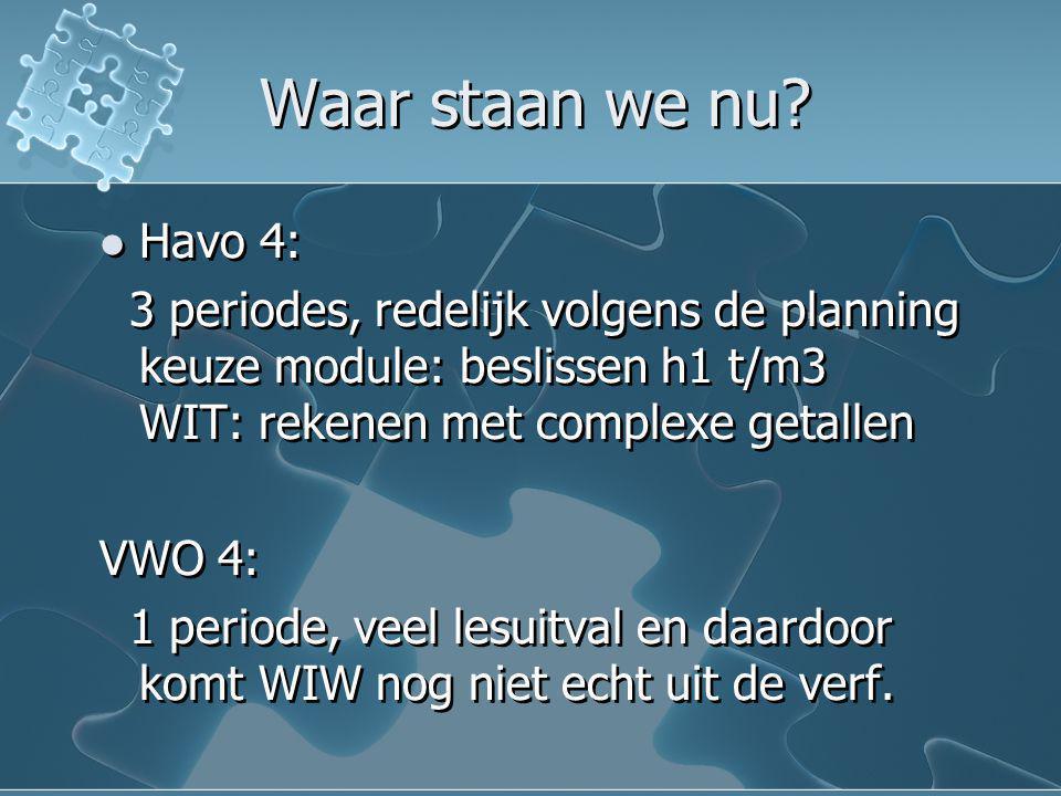 Waar staan we nu? Havo 4: 3 periodes, redelijk volgens de planning keuze module: beslissen h1 t/m3 WIT: rekenen met complexe getallen VWO 4: 1 periode