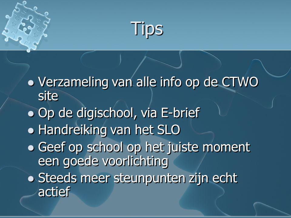Tips Verzameling van alle info op de CTWO site Op de digischool, via E-brief Handreiking van het SLO Geef op school op het juiste moment een goede voo