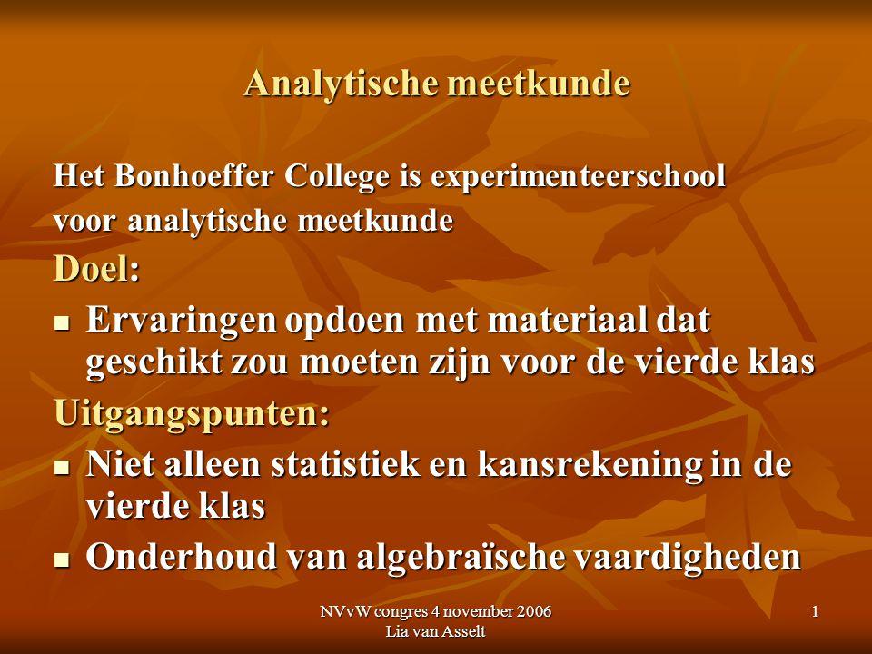 NVvW congres 4 november 2006 Lia van Asselt 1 Analytische meetkunde Het Bonhoeffer College is experimenteerschool voor analytische meetkunde Doel: Erv