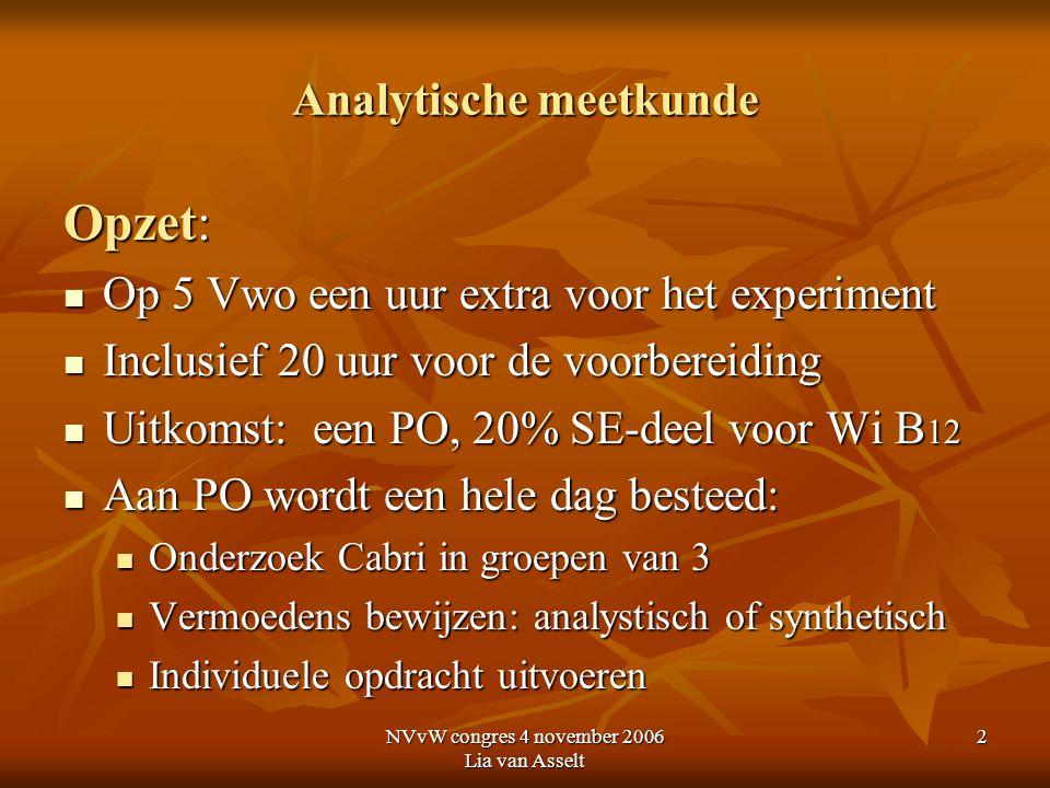 NVvW congres 4 november 2006 Lia van Asselt 2 Analytische meetkunde Opzet: Op 5 Vwo een uur extra voor het experiment Op 5 Vwo een uur extra voor het