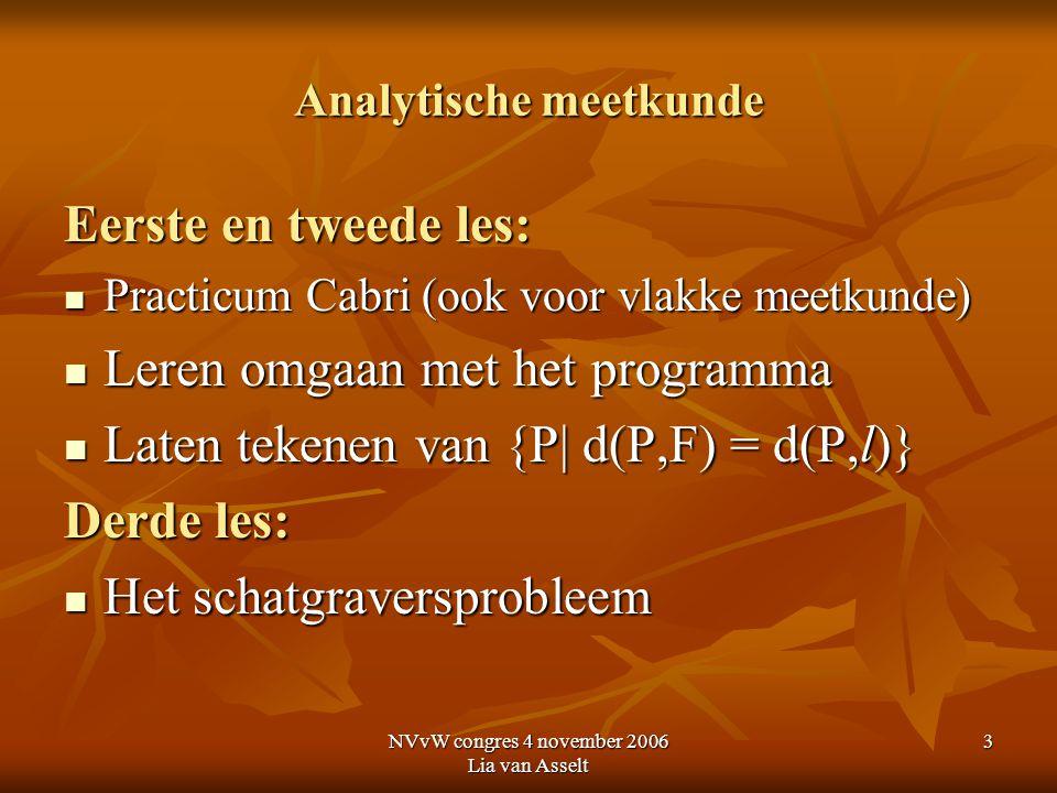 NVvW congres 4 november 2006 Lia van Asselt 3 Analytische meetkunde Eerste en tweede les: Practicum Cabri (ook voor vlakke meetkunde) Practicum Cabri