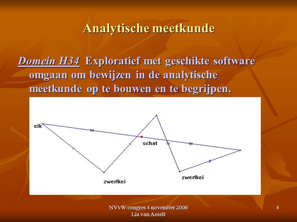NVvW congres 4 november 2006 Lia van Asselt 4 Analytische meetkunde Domein H34 Exploratief met geschikte software omgaan om bewijzen in de analytische