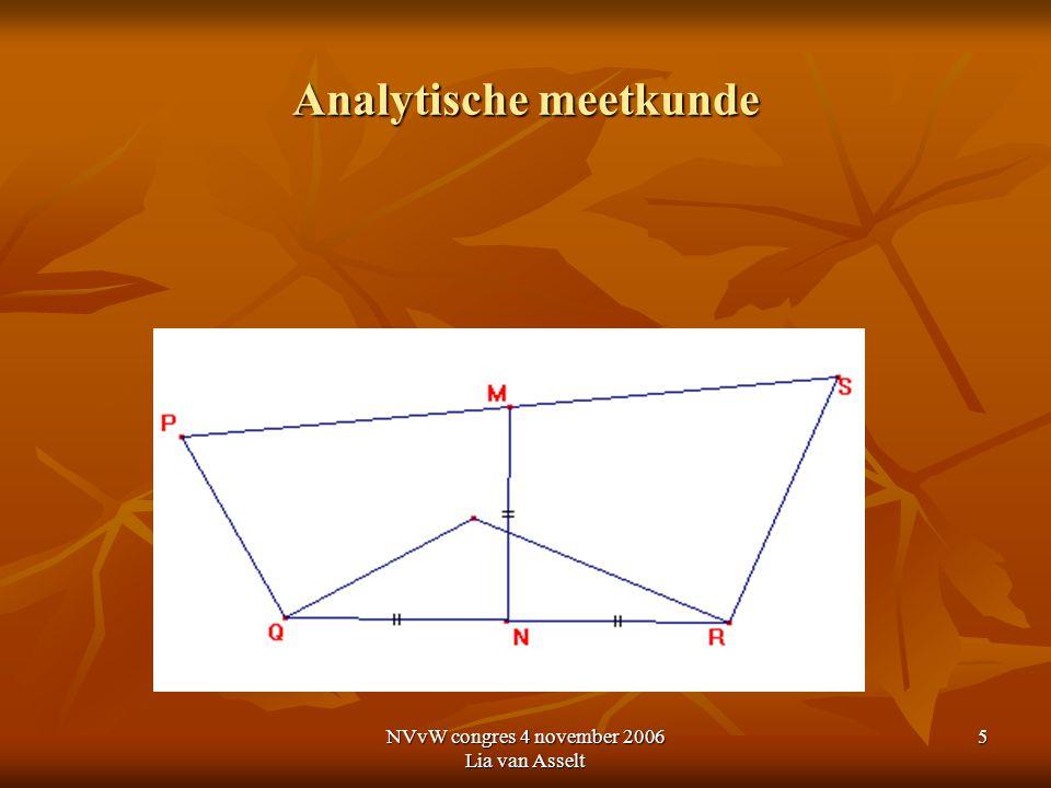 NVvW congres 4 november 2006 Lia van Asselt 6 Analytische meetkunde Domein B7 Een adequaat coördinaatsysteem kiezen; qua ligging en aard aansluitend bij een gegeven probleem.