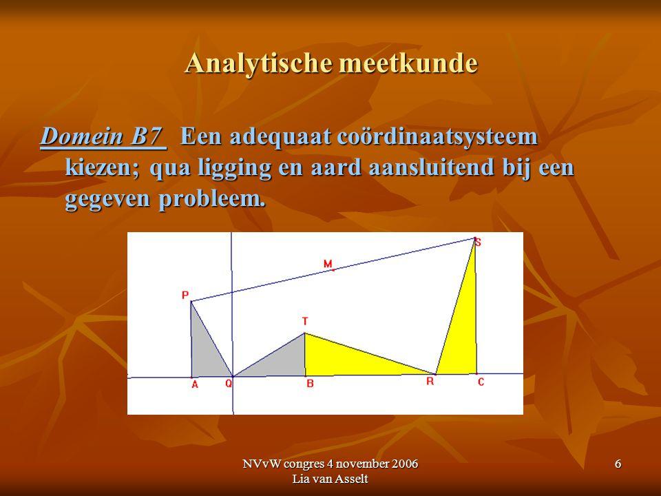 NVvW congres 4 november 2006 Lia van Asselt 7 Analytische meetkunde Vierde les A Algemene inzichten in de aard van de analytische meetkunde B Coördinaten, vergelijkingen, figuren en punten in twee dimensies A1 De methode van de analytische meetkunde beschrijven; daarbij aangeven wat de analytische en synthetische benadering van elkaar onderscheidt en hoe deze samenwerken.