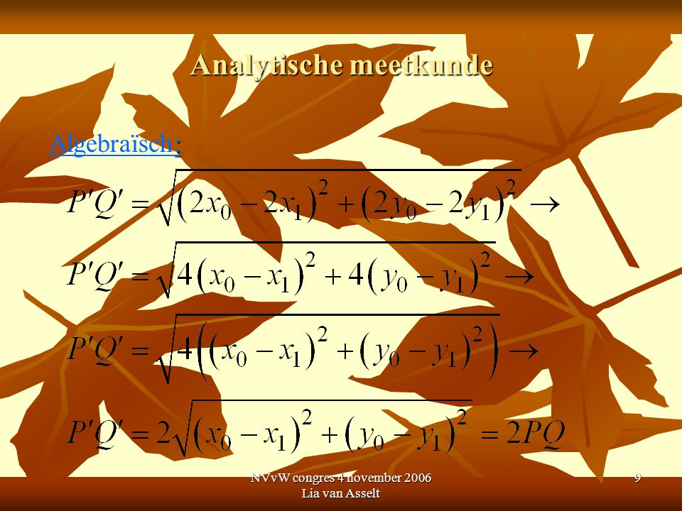 NVvW congres 4 november 2006 Lia van Asselt 10 Analytische meetkunde B5: Het verband tussen figuur en vergelijking kennen en kunnen gebruiken: coördinaten van punten op de figuur voldoen aan de vergelijking en andersom.