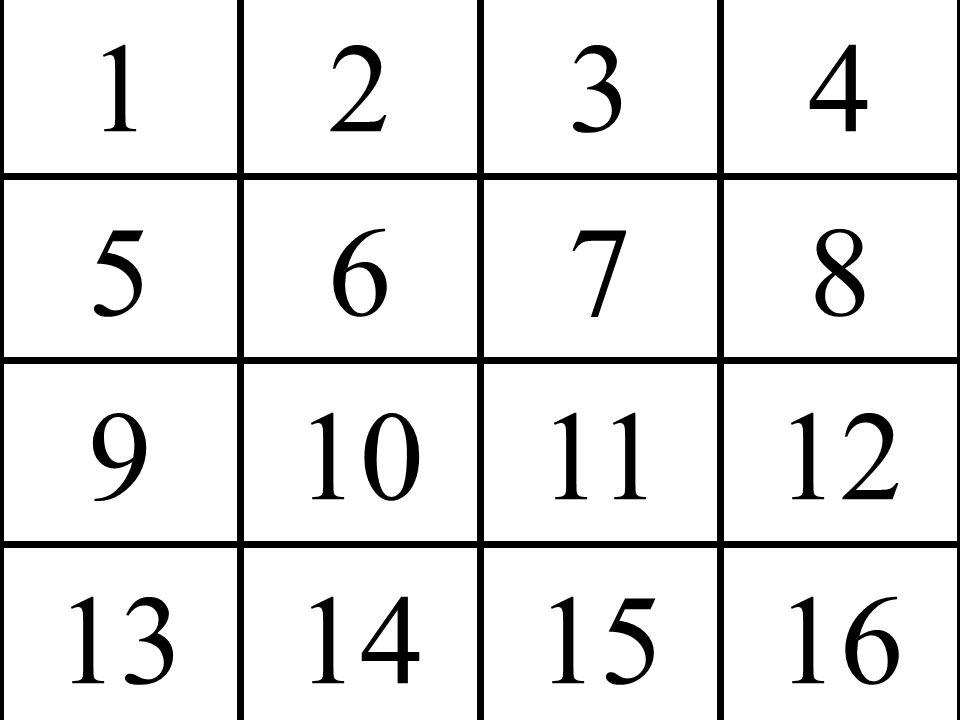 1 5 2 6 3 7 4 8 9 13 10 14 11 15 12 16