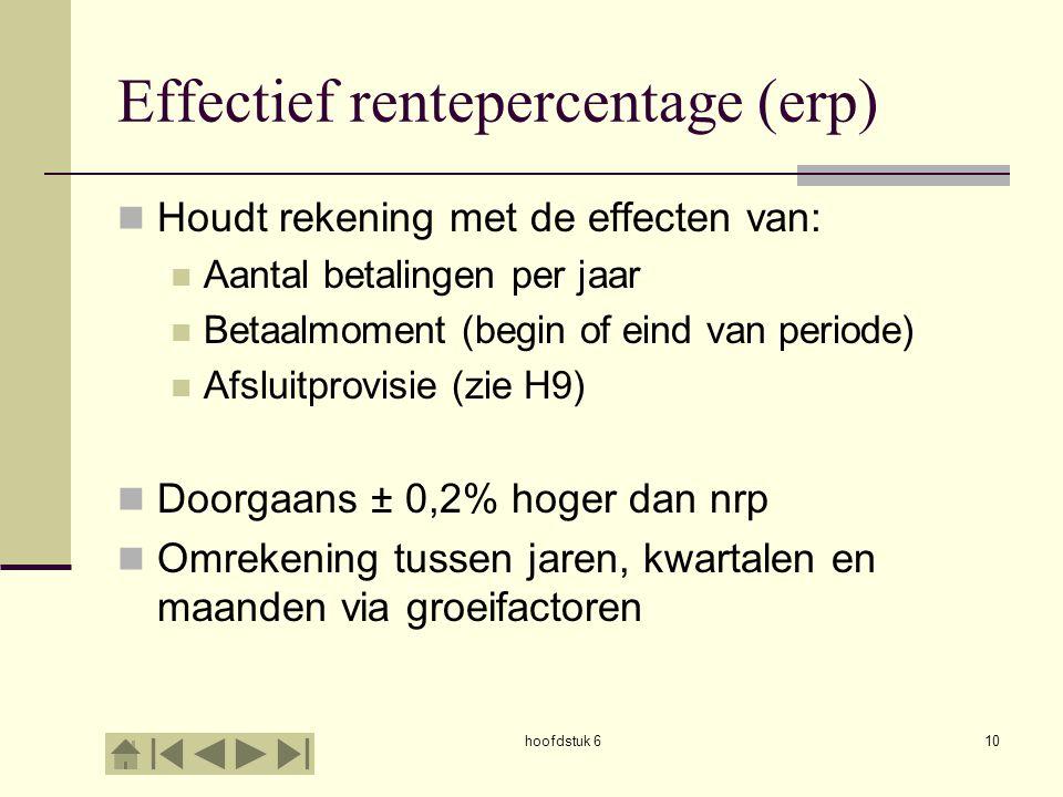 hoofdstuk 610 Effectief rentepercentage (erp) Houdt rekening met de effecten van: Aantal betalingen per jaar Betaalmoment (begin of eind van periode)