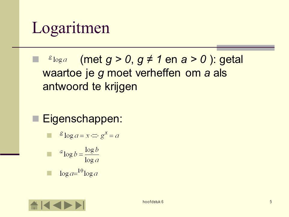 hoofdstuk 65 Logaritmen (met g > 0, g ≠ 1 en a > 0 ): getal waartoe je g moet verheffen om a als antwoord te krijgen Eigenschappen: