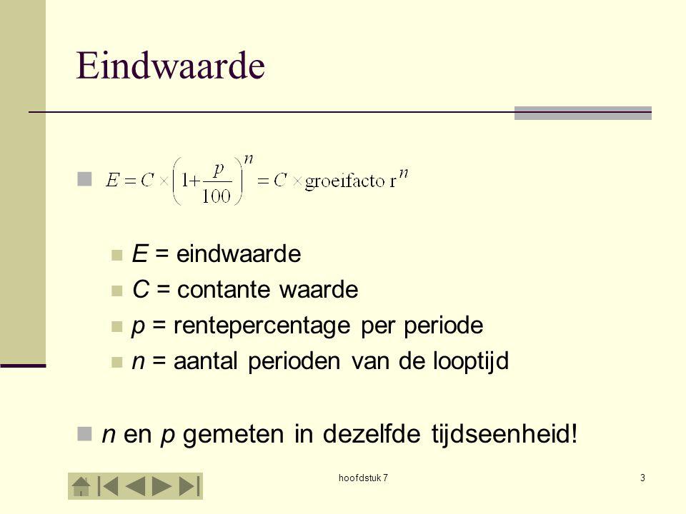 hoofdstuk 74 Contante waarde E = eindwaarde C = contante waarde p = rentepercentage per periode n = aantal perioden van de looptijd n en p gemeten in dezelfde tijdseenheid!