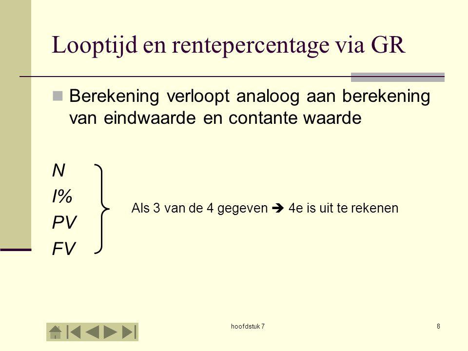 hoofdstuk 78 Looptijd en rentepercentage via GR Berekening verloopt analoog aan berekening van eindwaarde en contante waarde N I% PV FV Als 3 van de 4