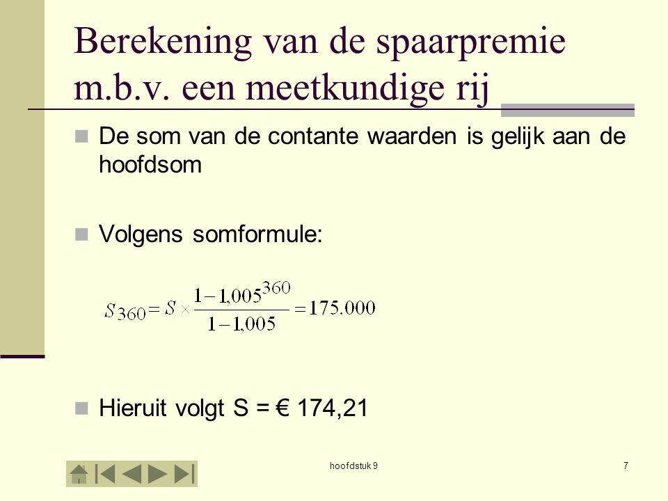 hoofdstuk 98 Berekening van de spaarpremie m.b.v.