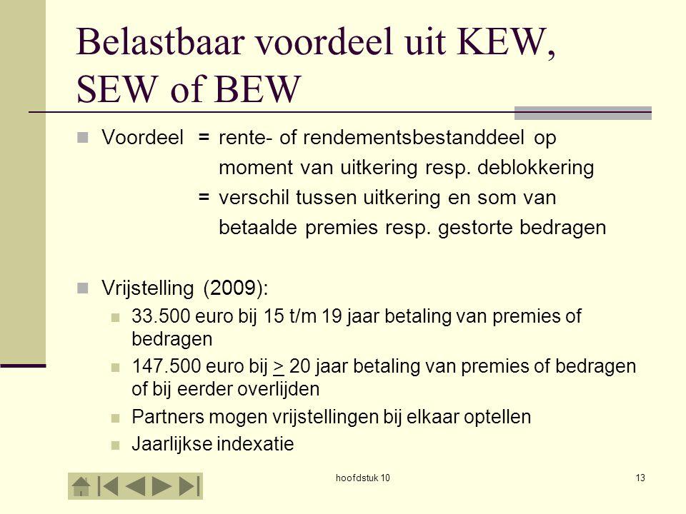 hoofdstuk 1013 Belastbaar voordeel uit KEW, SEW of BEW Voordeel=rente- of rendementsbestanddeel op moment van uitkering resp.