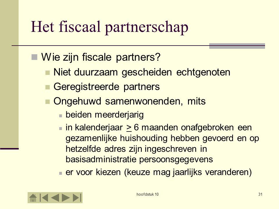 hoofdstuk 1031 Het fiscaal partnerschap Wie zijn fiscale partners.