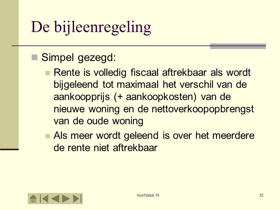 hoofdstuk 1032 De bijleenregeling Simpel gezegd: Rente is volledig fiscaal aftrekbaar als wordt bijgeleend tot maximaal het verschil van de aankoopprijs (+ aankoopkosten) van de nieuwe woning en de nettoverkoopopbrengst van de oude woning Als meer wordt geleend is over het meerdere de rente niet aftrekbaar