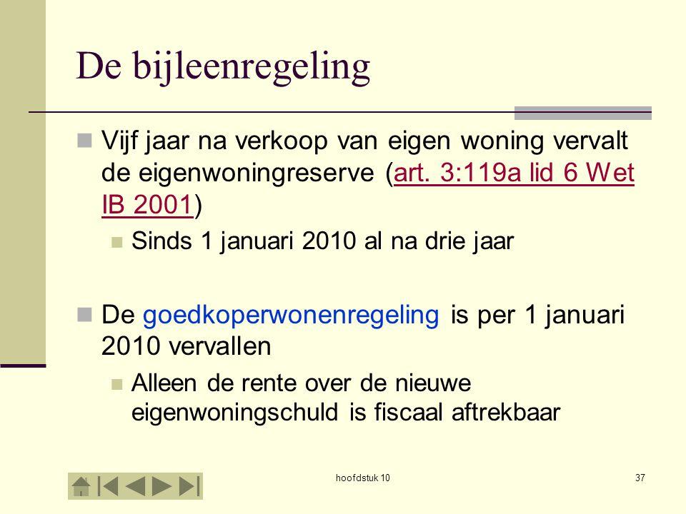 hoofdstuk 1037 De bijleenregeling Vijf jaar na verkoop van eigen woning vervalt de eigenwoningreserve (art.