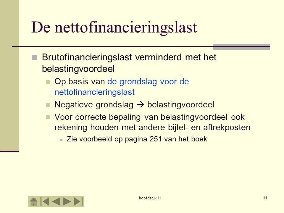 hoofdstuk 1111 De nettofinancieringslast Brutofinancieringslast verminderd met het belastingvoordeel Op basis van de grondslag voor de nettofinancieri
