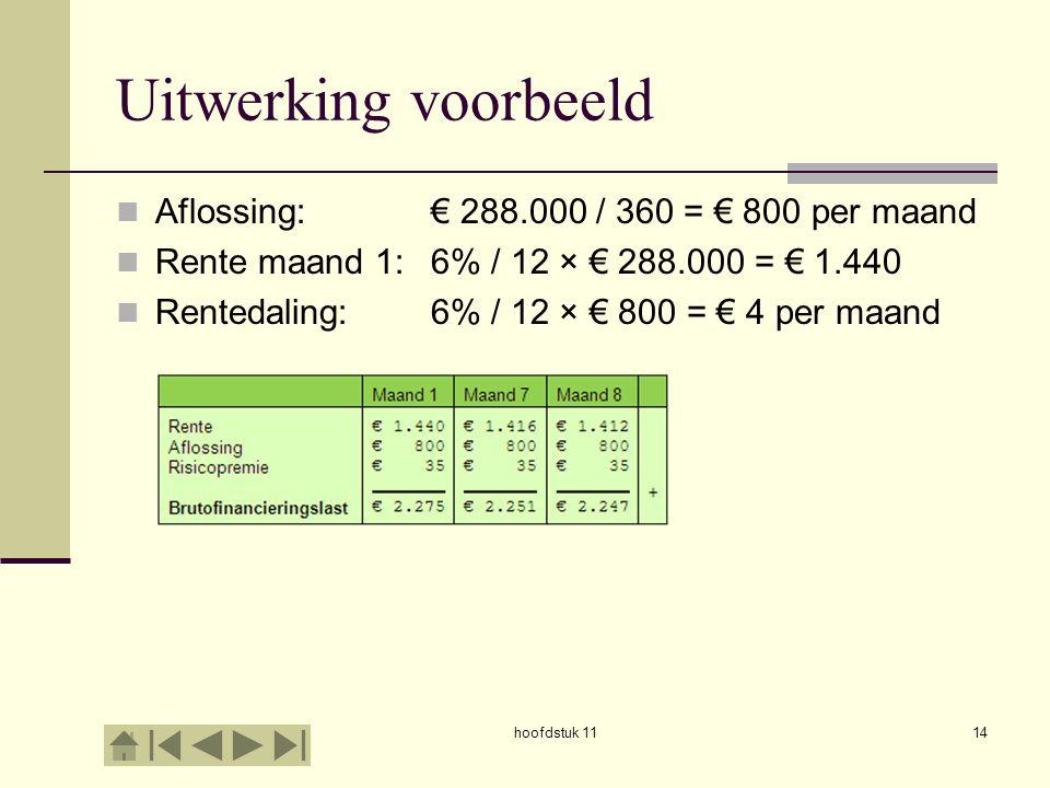 Uitwerking voorbeeld Aflossing: € 288.000 / 360 = € 800 per maand Rente maand 1: 6% / 12 × € 288.000 = € 1.440 Rentedaling:6% / 12 × € 800 = € 4 per m