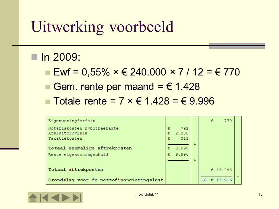 Uitwerking voorbeeld In 2009: Ewf = 0,55% × € 240.000 × 7 / 12 = € 770 Gem. rente per maand = € 1.428 Totale rente = 7 × € 1.428 = € 9.996 hoofdstuk 1