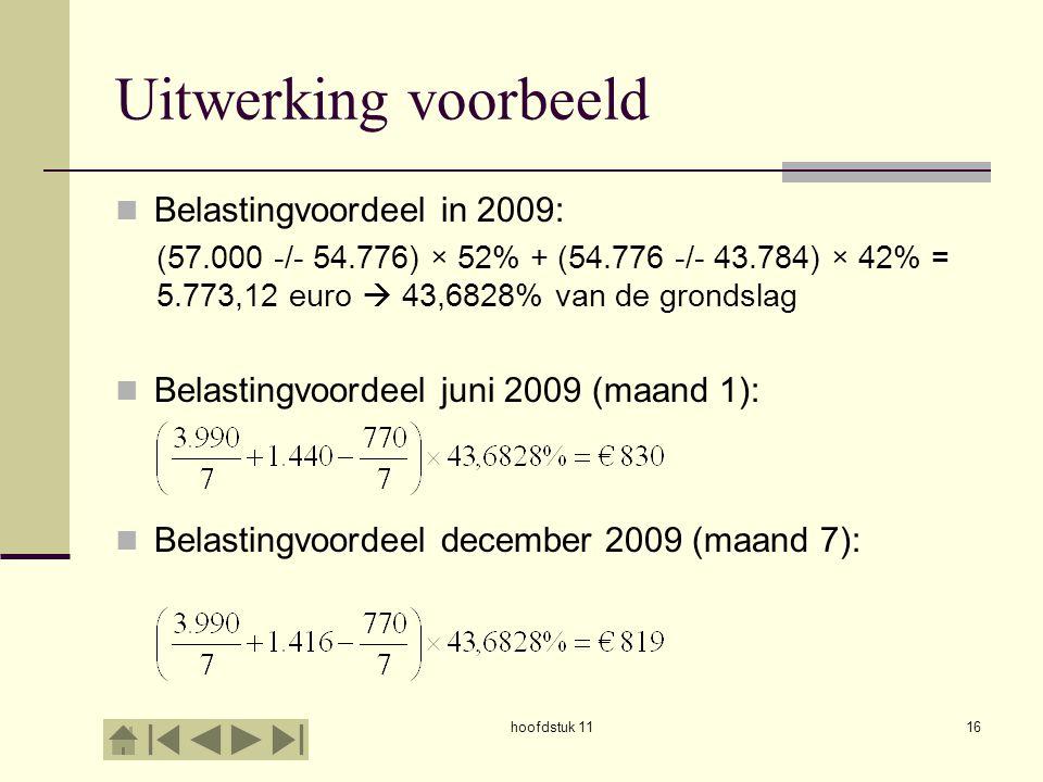 Uitwerking voorbeeld Belastingvoordeel in 2009: (57.000 -/- 54.776) × 52% + (54.776 -/- 43.784) × 42% = 5.773,12 euro  43,6828% van de grondslag Bela
