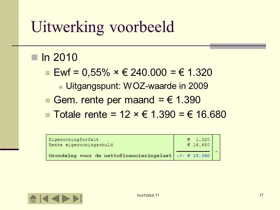 Uitwerking voorbeeld In 2010 Ewf = 0,55% × € 240.000 = € 1.320 Uitgangspunt: WOZ-waarde in 2009 Gem. rente per maand = € 1.390 Totale rente = 12 × € 1