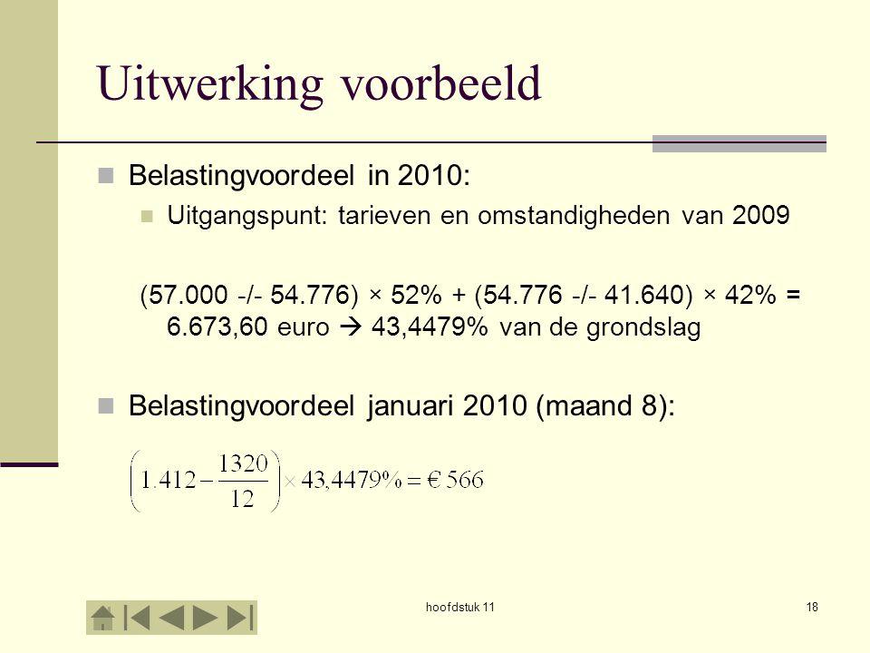 Uitwerking voorbeeld Belastingvoordeel in 2010: Uitgangspunt: tarieven en omstandigheden van 2009 (57.000 -/- 54.776) × 52% + (54.776 -/- 41.640) × 42
