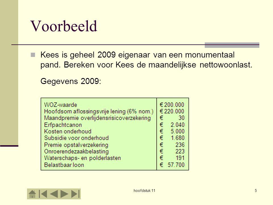 hoofdstuk 115 Voorbeeld Kees is geheel 2009 eigenaar van een monumentaal pand. Bereken voor Kees de maandelijkse nettowoonlast. Gegevens 2009: