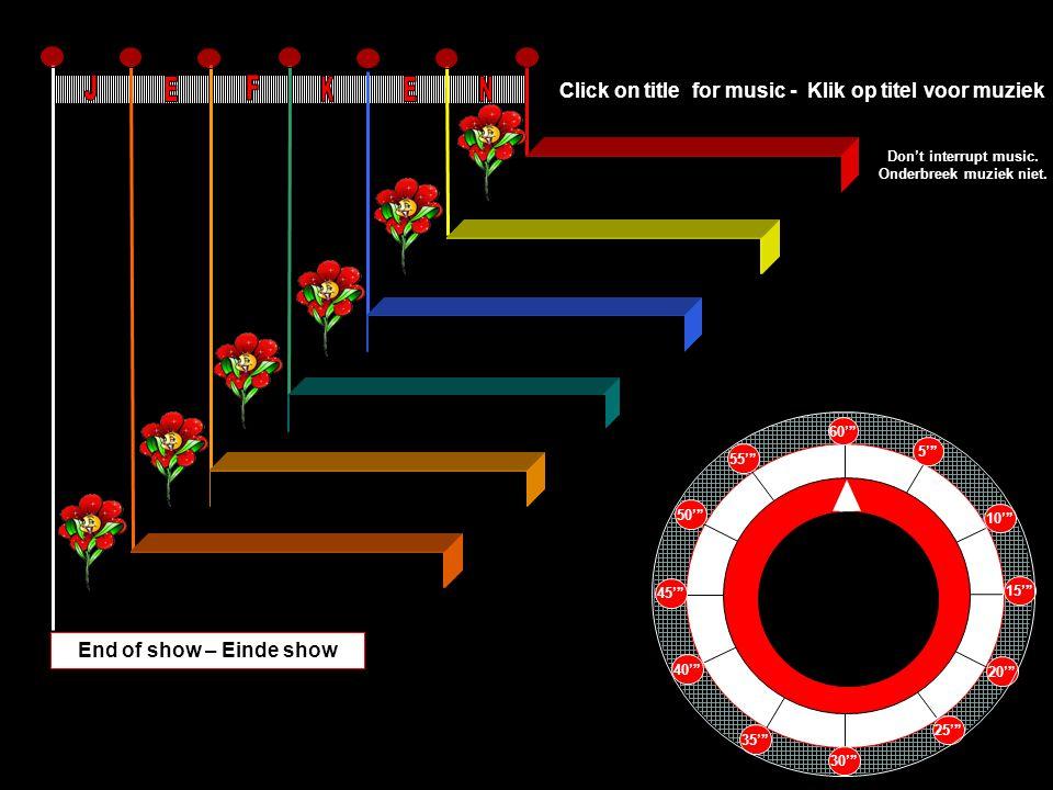 Nell Azzurrita 4'18'' Lamento di Federico 4'41'' A Dios Le Pido 3'26'' Concertino Minuete 1'44'' Si Tu Chi Decidi 3'58'' Adagio in C Minor 2'38'' End of show – Einde show 60' 5' 10' 15' 20' 25' 30' 35' 40' 45' 50' 55' Click on title for music - Klik op titel voor muziek Don't interrupt music.