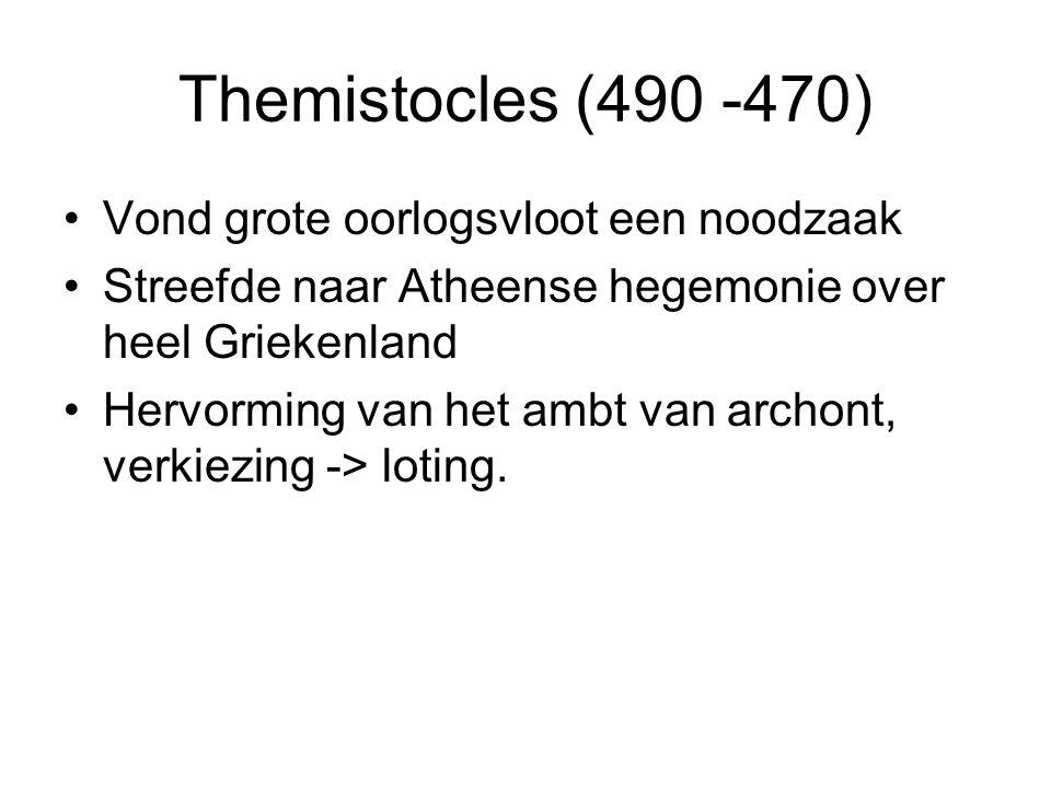 Themistocles (490 -470) Vond grote oorlogsvloot een noodzaak Streefde naar Atheense hegemonie over heel Griekenland Hervorming van het ambt van archon