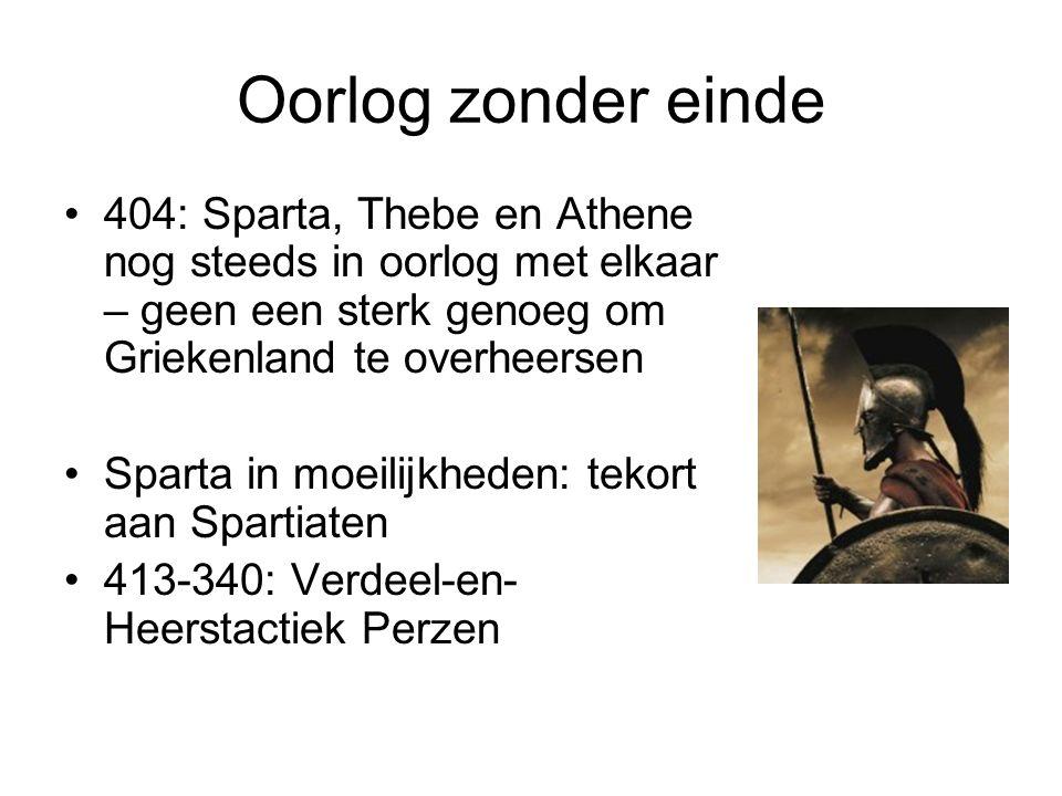 Oorlog zonder einde 404: Sparta, Thebe en Athene nog steeds in oorlog met elkaar – geen een sterk genoeg om Griekenland te overheersen Sparta in moeil