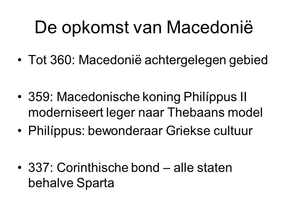 De opkomst van Macedonië Tot 360: Macedonië achtergelegen gebied 359: Macedonische koning Philíppus II moderniseert leger naar Thebaans model Philíppu