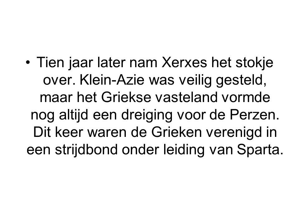 Tien jaar later nam Xerxes het stokje over. Klein-Azie was veilig gesteld, maar het Griekse vasteland vormde nog altijd een dreiging voor de Perzen. D