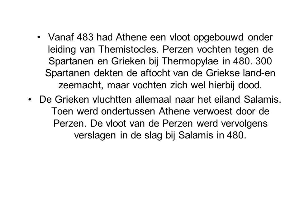 Vanaf 483 had Athene een vloot opgebouwd onder leiding van Themistocles. Perzen vochten tegen de Spartanen en Grieken bij Thermopylae in 480. 300 Spar