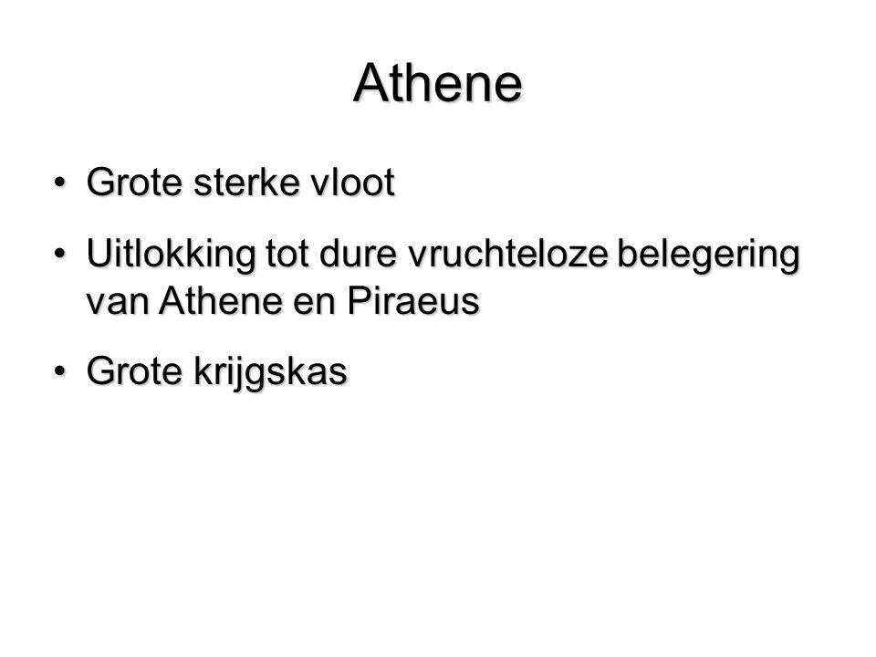 Athene Grote sterke vlootGrote sterke vloot Uitlokking tot dure vruchteloze belegering van Athene en PiraeusUitlokking tot dure vruchteloze belegering