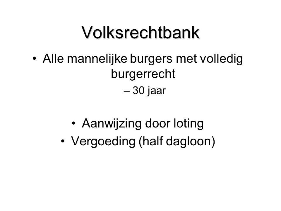 Volksrechtbank Alle mannelijke burgers met volledig burgerrecht –30 jaar Aanwijzing door loting Vergoeding (half dagloon)