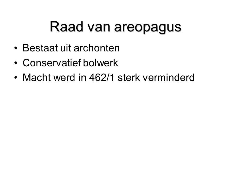 Raad van areopagus Bestaat uit archonten Conservatief bolwerk Macht werd in 462/1 sterk verminderd