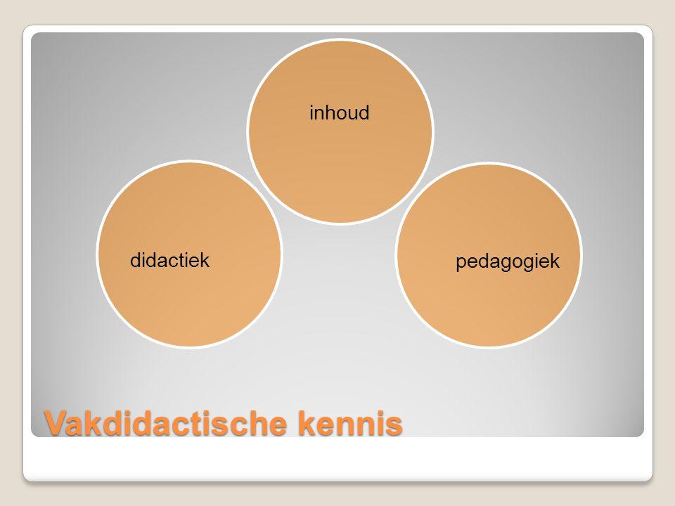 Vakdidactische kennis inhoud pedagogiek didactiek