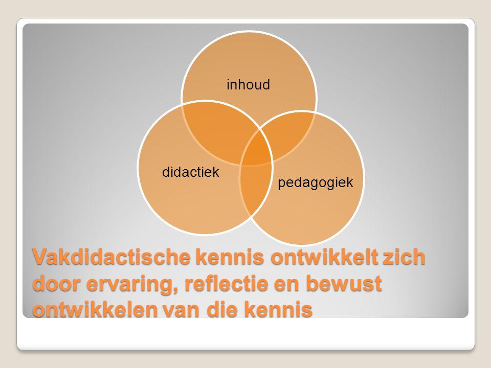 Vakdidactische kennis ontwikkelt zich door ervaring, reflectie en bewust ontwikkelen van die kennis inhoud pedagogiekdidactiek