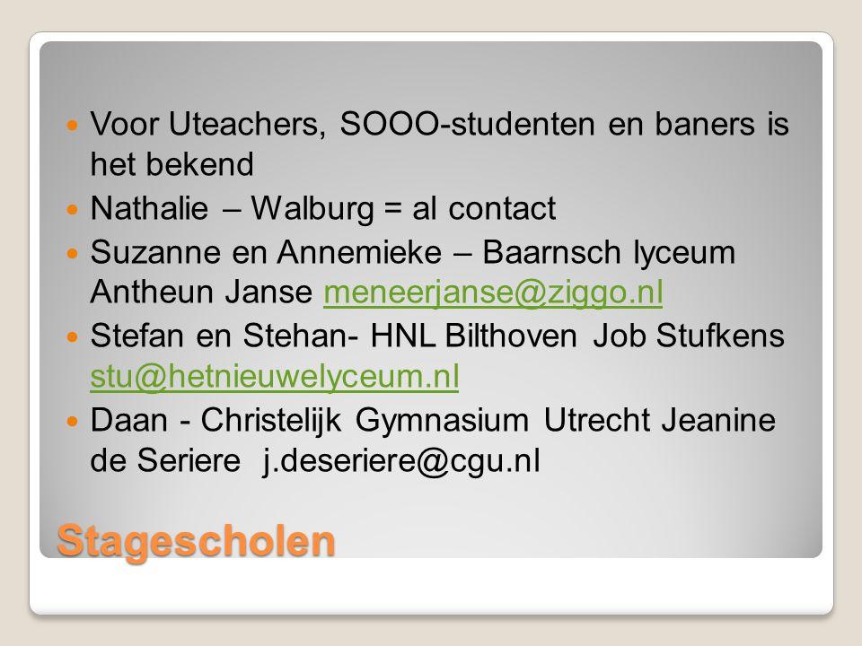 Stagescholen Voor Uteachers, SOOO-studenten en baners is het bekend Nathalie – Walburg = al contact Suzanne en Annemieke – Baarnsch lyceum Antheun Jan