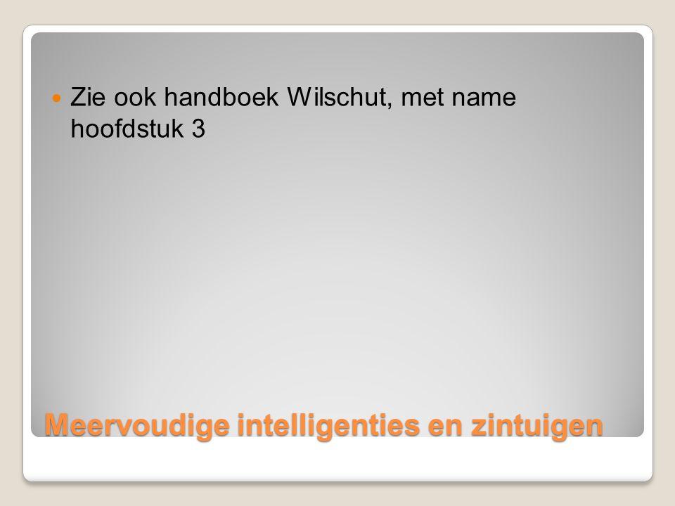 Meervoudige intelligenties en zintuigen Zie ook handboek Wilschut, met name hoofdstuk 3