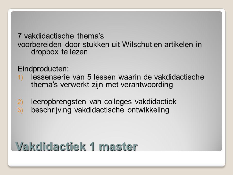 Vakdidactiek 1 master 7 vakdidactische thema's voorbereiden door stukken uit Wilschut en artikelen in dropbox te lezen Eindproducten: 1) lessenserie v